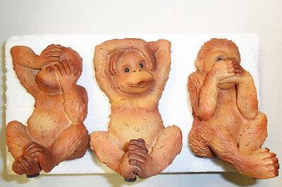 See No Evil.. Hear No Evil.. Speak No Evil... Monkeys Wall Hooks In Box