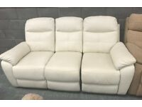 Leather manual recliner 3 seater sofa