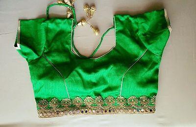USA Green silk blend saree choli blouse