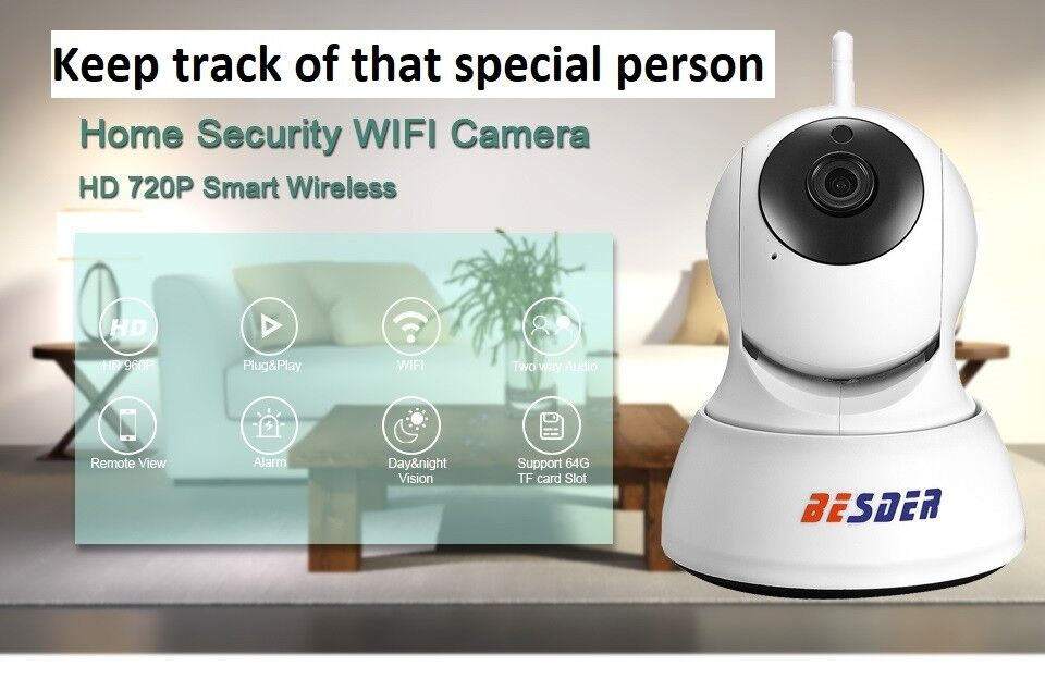 BESDER 720P IP Camera Wifi PTZ Wireless CCTV Baby Monitor/Dog or Cat Watcher/Use to Watch Anything