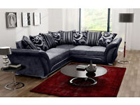 New Large corner 5 seater sofa Grey/Black, Fabric / Faux leather sofas