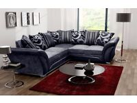 Double-padded Fabric Italian Leather corner Sofa AND 3 AND 2 SEATER SOFA AVAILABLE IN BLACK & BROWN