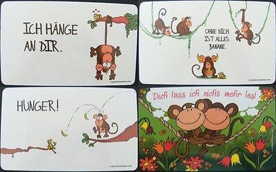 Affe Liebe Bananen Brettchen 23x14cm Tier Tiere Blumen Brett (Affe Bananen)