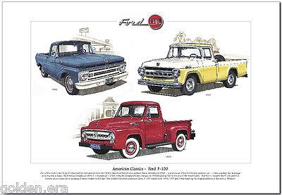 American Classics - FORD F-100 Fine Art Print A3 size - US Pickup '53 '57 & '62