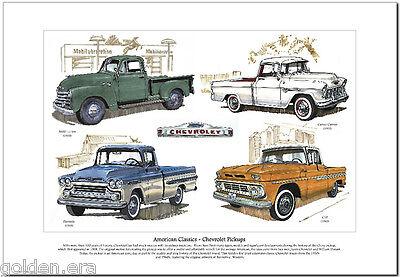 American Classics - CHEVROLET PICKUPS Art Print - Chevy 3100 Cameo C10 Fleetside