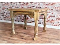 Rustic Oak Style Hardwood Extendable Rustic Farmhouse Dining Table - 3ft - 6ft