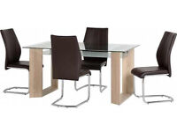 Milan Glass Dining Table With 4 Chairs