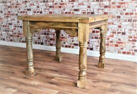 Rustic Hardwood Extendable Rustic Farmhouse Dining Table - 3ft - 6ft