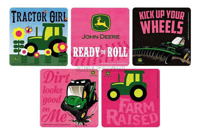 15 Pink John Deere Farm Tractor Stickers Girls Party Goody Loot Bag Favor Supply - Tractor Favors