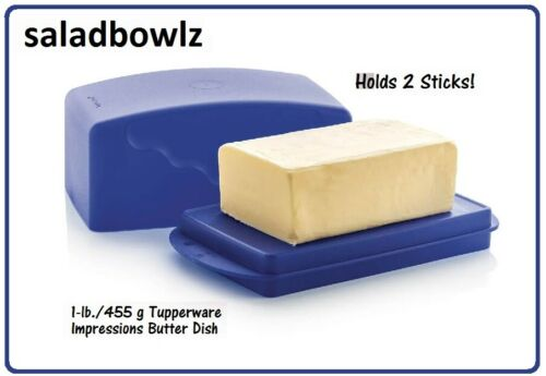 TUPPERWARE 1 lb IMPRESSIONS BUTTER DISH w/ COVER TOKYO BLUE Holds Double Stick