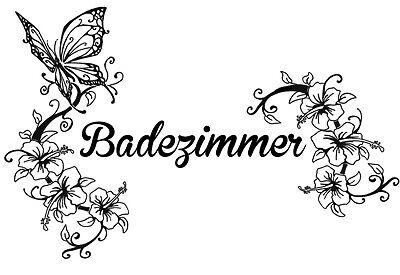 Wandtattoo / Tür Aufkleber Badezimmer Hibiskus + Schmetterling Küche / Gäste WC
