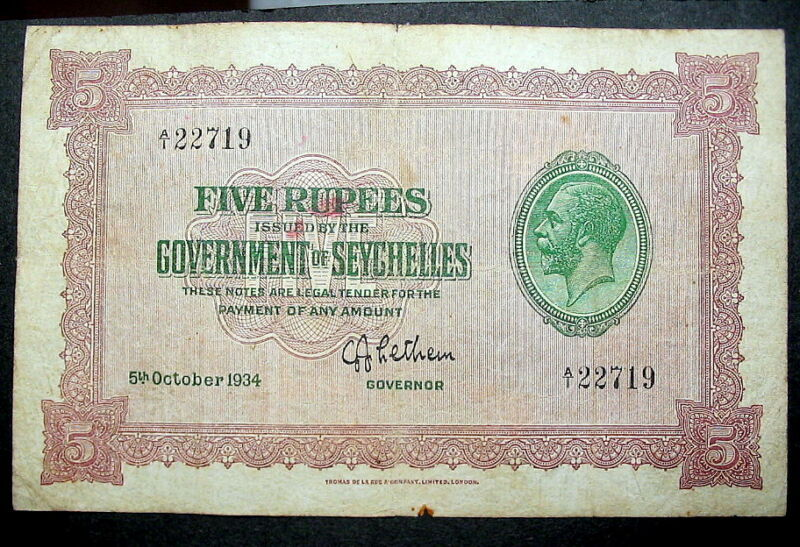 SEYCHELLES FIVE RUPEES 1934 RR