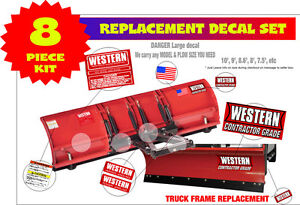 Western Snow Plow Contractor Grade Decal Replacement 8 Piece Kit for8 9 10' WKC8