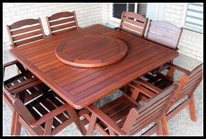 10 pce Kwila outdoor dining setting. Very solid square Melbourne CBD Melbourne City Preview