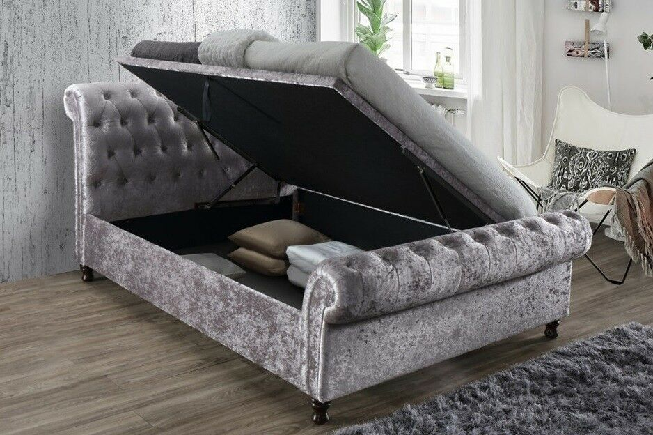Crush Steel Velvet 6ft Super King Size Ottoman Bed Frame In