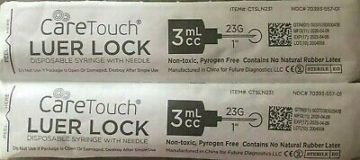 Caretouch Luer-lock Syringes 3ml3cc 23g X 1in 0.5mm X 25mm 100 In Box New