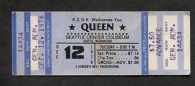 1978 Queen unused full concert ticket Seattle WA Freddie Mercury Jazz Tour