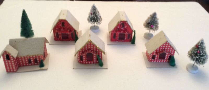 Vintage Red Checkered Putz Houses