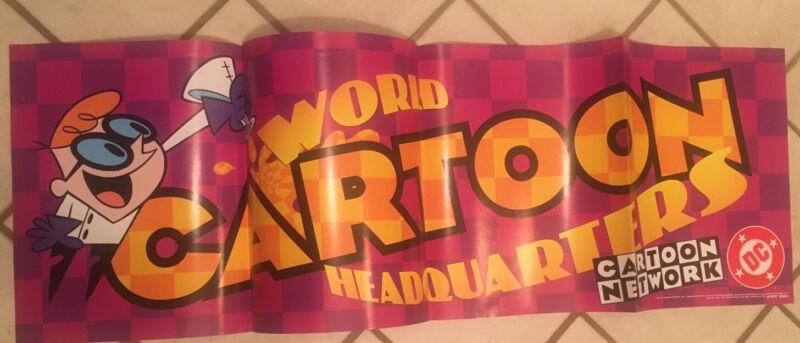 "World Cartoon Network Headquarters Promo Poster 11"" x 34"" Folded Unused 1997 DC"