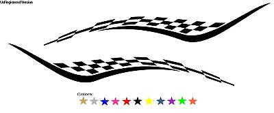 Checkered Flag Decals Boat Truck Semi RV Trailer Race Enclosed Car Cargo Graphic