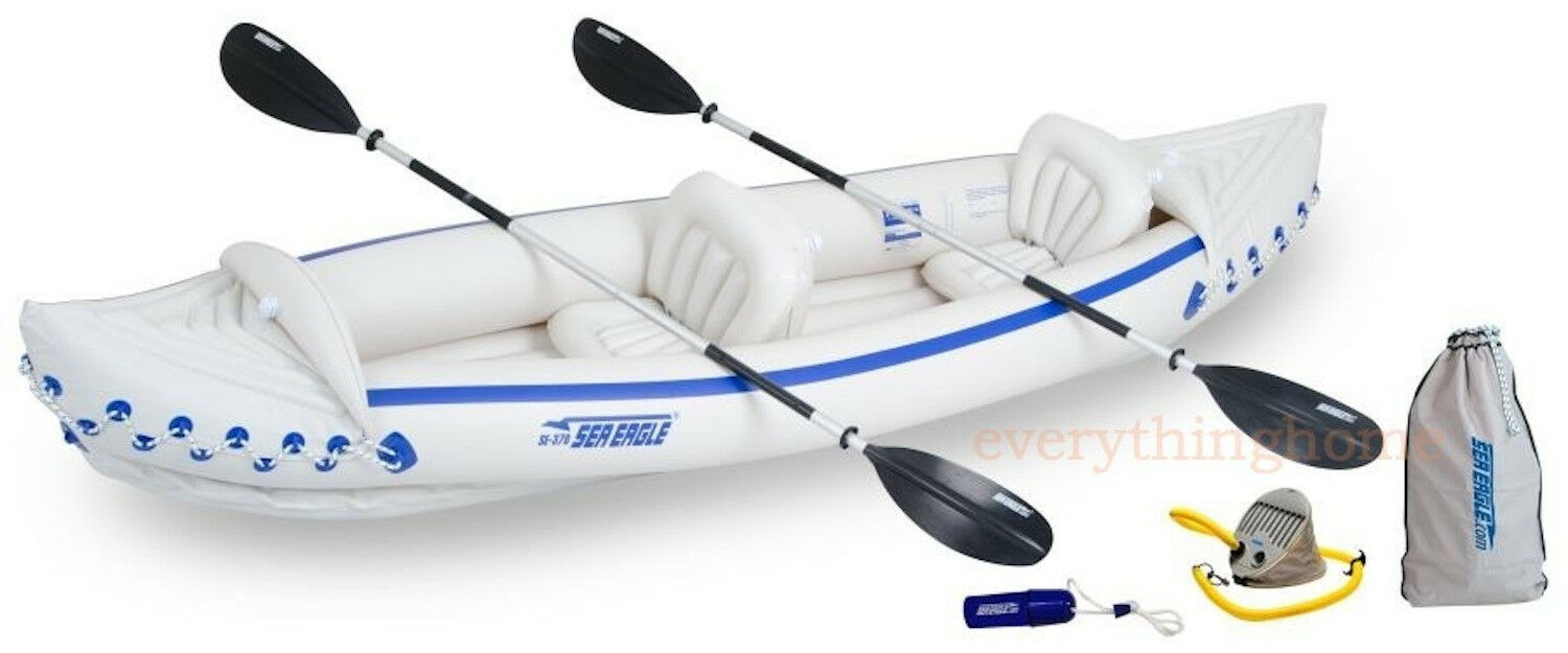 sea eagle 370 deluxe inflatable kayak pkge 2 seats factory new 3 yr warranty
