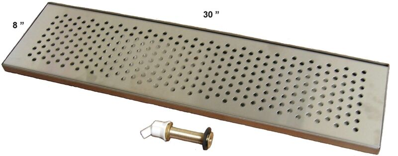 """Draft Beer Drip Trap 30"""" X 8"""" w/ S.S. Grill & 4"""" Metal Drain - DTW-30SS"""