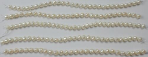 """32"""" of 5 -6.5"""" Strands White Keshi Freshwater Pearl Strand Knotted Bead 4.5-5.5m"""
