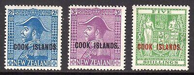 COOK ISLANDS 1936-44 2s, 3s, 5s wmk Single NZ Star M, SG 116, 117, 119 cat £81