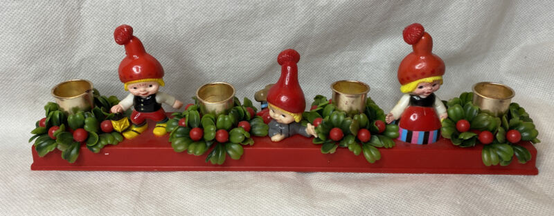 Vintage MCM Christmas Candle Holder Plastic Dutch Kids w Red Hats  Santas Elves