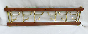 Folding Wood & Brass Coat Rack / Clothes Hooks - Six Hooks - Household / Boating