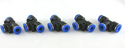 "5pc Push In One Touch to Connect T Fittings1/4""- 1/4"" OD MettleAir MTE1/4-1/4"