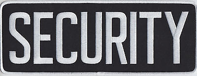 """SECURITY White on Black Back Panel Patch 11"""" by 4"""" 11 X 4"""