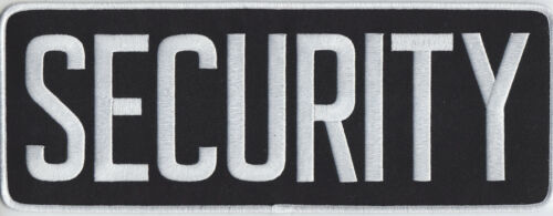 "SECURITY White on Black Back Panel Patch 11"" by 4"" 11 X 4"
