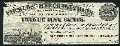 1862 25 Cents Farmers   Merchants Bank Obsolete Script Middletown Point  Nj