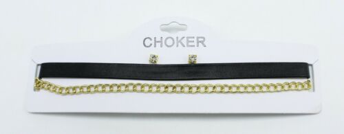 Wholesale One Dozen New Gold & Faux Leather Choker & Earring Sets #N2025-12