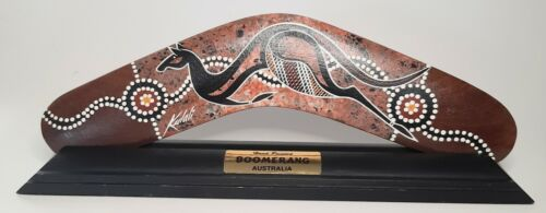 """NEW ON STAND Authentic Australian WATERHOLE Dreaming Boomerang HANDPAINTED 12""""L"""
