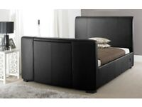 Dreams Black Faux Leather TV Bed with TV
