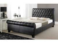 BNIB Black Super Kingsize leather sleigh Bed