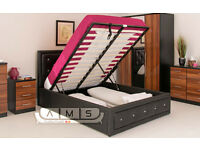 STYLISH DIAMOND STUDDED 4ft6 Double Leather Storage Ottoman Bed Frame, Gas Lift-Up with Mattress