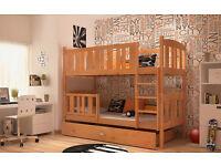 ***SALE***Brand New Children Wooden Bunk Bed Solid Pine 2x Foam Mattresses+Storage/Drawer Included