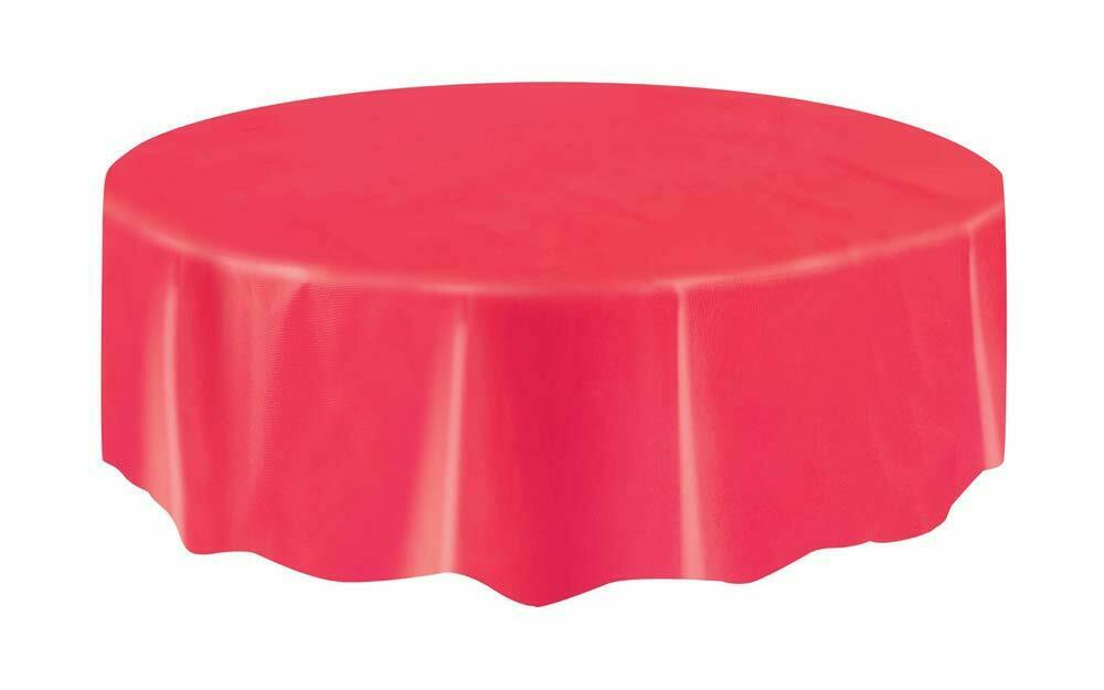 Christmas Party Ideas - Red 7ft (2.13m) Round Plastic Tablecloth Table Cover