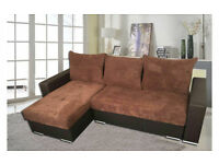 EXCLUSIVE RANGE-CORNER SOFA & SOFA BED WITH STORAGE-MILAN FABRIC-BRAND NEW