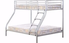 60% Discounted Offer !! Trio Sleeper Metal Bunk Bed Frame With Mattress Option -- free delivery