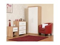 NEW Black or White bedroom set Wardrobe, Chest of drawers & Bedside DONT MISS THIS