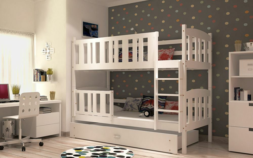 Brand New Children Wooden Bunk Bed Winnie Solid Pine 2x Foam Mattresses +Storage/Drawer Included