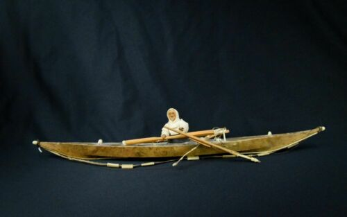 Antique Eskimo Kayak with figure and implements - very nice. Early 20th century