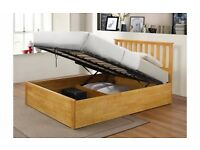 NEW Zoe 4ft 6 Solid Oak Rubberwood Wooden Double Storage Bed & Mattress