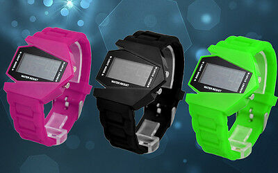 Color Waterproof Flash Led Watch Silicone Digital Sport Unisex Plane Light Watch