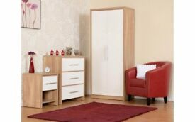 NEW Grey Red Black or White bedroom set Wardrobe, Chest of drawers & Bedside AVAILABLE TODAY