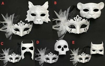 White Masquerade mask Pair Halloween Super Hero Costume Dress up Party Wear - Paired Up Halloween Costumes